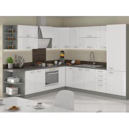 Rohová kuchyně BIANCA 240x270 cm, šedá/bílý lesk