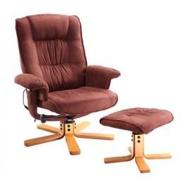Relaxační masážní křeslo s podnožkou K47, hnědé
