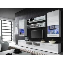 LUNA VHITE, obývací stěna, bílá/bílý lesk