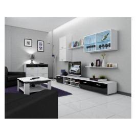 Obývací stěna MAGIC, bílá/černý lesk