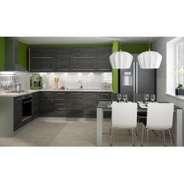 Rohová kuchyně SILVER+ 200x265 cm, korpus grey, black pine