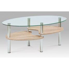 Smartshop Konferenční stolek 100x60x42, čiré sklo / sonoma, KSAF-2007 SON