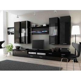 DREAM II, obývací stěna, černý/černý lesk