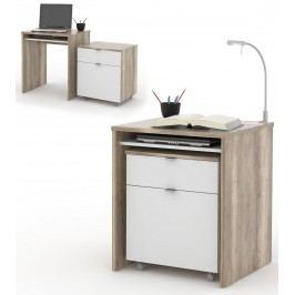 MB Domus UNO PC stůl s výsuvným kontejnerem na kolečkách, canyon oak/bílá