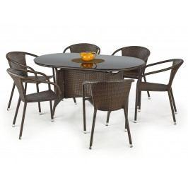 Halmar Stůl MASTER, tmavě hnědá/černá