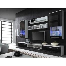 CAMA LUNA BLACK, obývací stěna, bílá/černý lesk