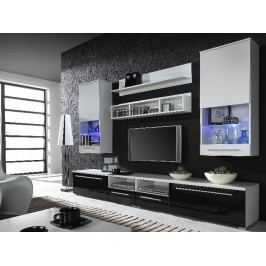 LUNA, obývací stěna, bílá/černý a bílý lesk