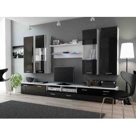 DREAM II, obývací stěna, bílá/černý lesk
