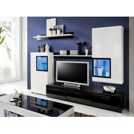 Smartshop PANDA, obývací stěna, černý lesk/bílý lesk