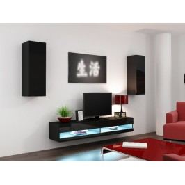 CAMA *Obývací stěna VIGO NEW 10, černá/černý lesk