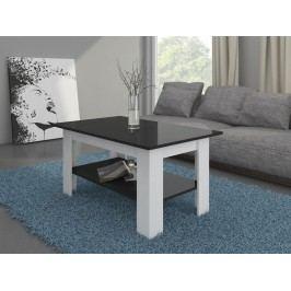 Konferenční stolek ELAIZA, bílá/černý lesk