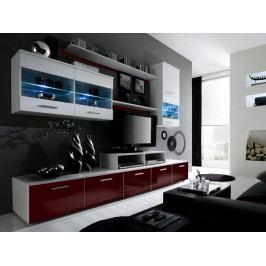 LOGO II, obývací stěna, bílá/bordo lesk