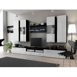 DREAM II, obývací stěna, černá/bílý lesk