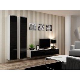 Obývací stěna VIGO 4 A, bílá/černý lesk
