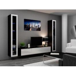 Obývací stěna VIGO 5, černá/bílý lesk