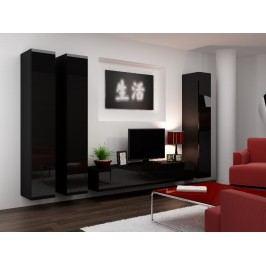 Obývací stěna VIGO 1, černá/černý lesk