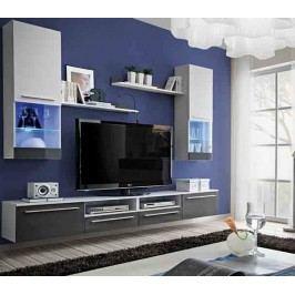 EVORA, obývací stěna, antracit lesk/bílá