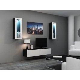 CAMA *Obývací stěna VIGO 8, černá/bílý lesk