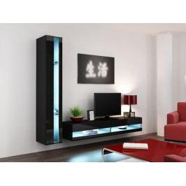 Obývací stěna VIGO NEW 8, černá/černý lesk