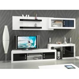 MORAVIA FLAT Obývací stěna VERIN 1, bílá/černý lesk