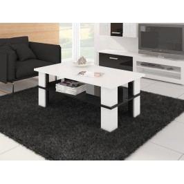 Konferenční stolek FUTURA 2, bílá/černý lesk