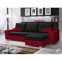 Smartshop Rohová sedačka WILLIAM 270/2, černá látka/červená ekokůže