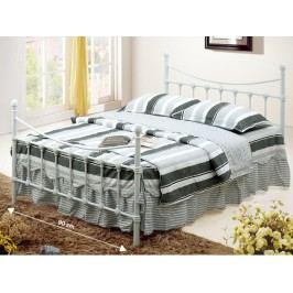 Smartshop NIEVES kovová postel s roštem 90x200 cm, bílá