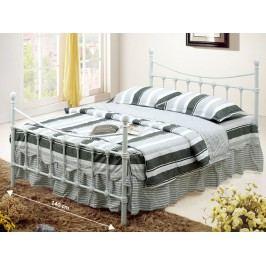 NIEVES kovová postel s roštem 140x200 cm, bílá