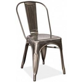 Jídelní kovová židle LOFT 2, ocel kartáčovaná