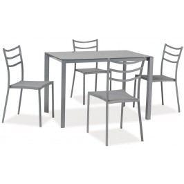 Smartshop Jídelní set KENDO 1+4 se skleněným stolem, šedý