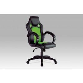 Kancelářská židle KA-F281 GRN, černá koženka/zelená mesh