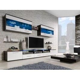 CAMA I, obývací stěna, wenge/bílý lesk