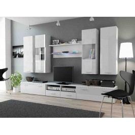 DREAM II, obývací stěna, bílá/bílý lesk