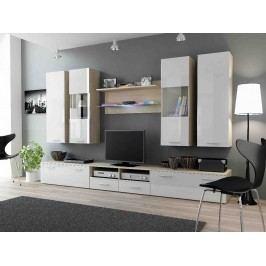 DREAM II, obývací stěna, dub sonoma/bílý lesk