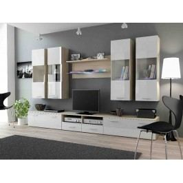 DREAM I, obývací stěna, dub sonoma/bílý lesk