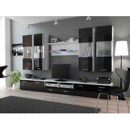 DREAM I, obývací stěna, bílá/černý lesk
