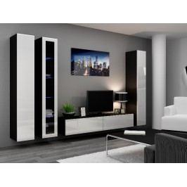 Obývací stěna VIGO 2 A, černá/bílý lesk