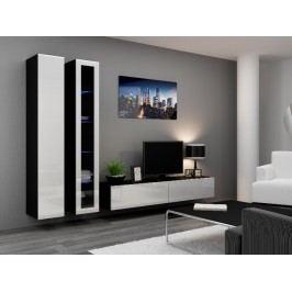 CAMA Obývací stěna VIGO 3, černá/bílý lesk