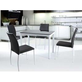 Jídelní stůl ARGUS, bílý/černý, kov/sklo