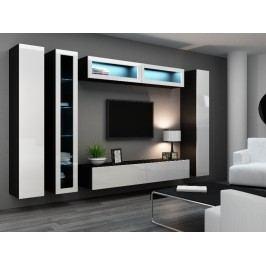 Obývací stěna VIGO 6, černá/bílý lesk