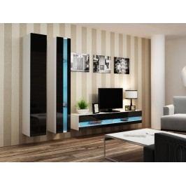 CAMA Obývací stěna VIGO NEW 5, bílá/černý lesk