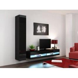 *Obývací stěna VIGO NEW 9, černá/černý lesk