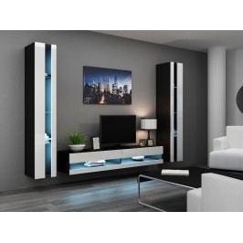 CAMA *Obývací stěna VIGO NEW 3, černá/bílý lesk