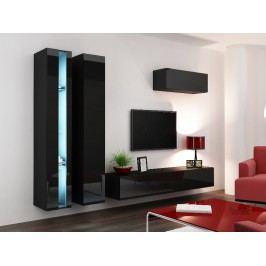 Obývací stěna VIGO NEW 1, černá/černý lesk