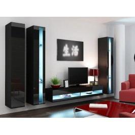 Obývací stěna VIGO NEW 6, černá/černý lesk