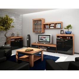 MORAVIA FLAT Obývací stěna MAX, švestka/černý lesk