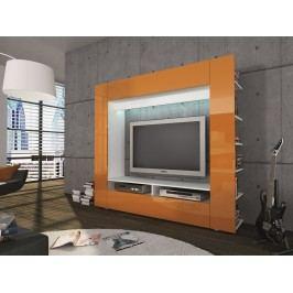 Obývací stěna OLLI M6951A5, bílá/lesklá oranžová