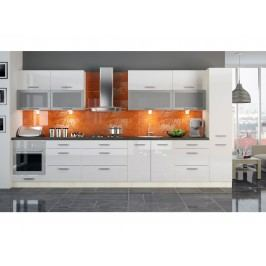 Extom Kuchyně PLATINUM 300/380 cm, korpus jersey, dvířka white