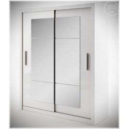 Šatní skříň IDEA, bílá se zrcadlem