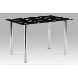 Jídelní stůl 120x80, černé sklo / chrom, AT-1888 BK